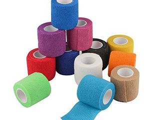 2 Sets Of 12 Self Adherent Cohesive Wrap Bandages 2 Inches X 5 Yards  First Aid Tape  Elastic Self Adhesive Tape  Athletic  Sports wrap Tape  Bandage Wrap for Sports  Wrist  Ankle  Rainbow Color