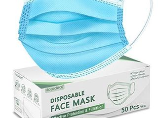 Hotodeal 50 Pcs Disposable Face Masks  Breathable Face Mask 3 layer Facemask  lightweight Facial Masks for Adult  Men  Women  Indoor  Outdoor Use