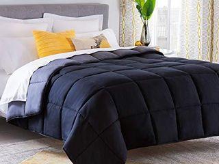 linenspa All Season Reversible Down Alternative Quilted Comforter   Hypoallergenic   Plush Microfiber Fill   Machine Washable   Duvet Insert or Stand Alone Comforter   Black Graphite   Queen