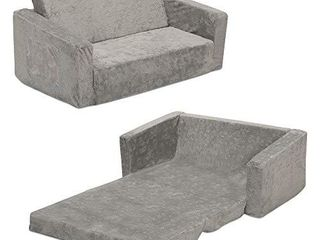 Serta Perfect Sleeper Extra Wide Convertible Sofa to lounger   Comfy 2 in 1 Flip Open Couch Sleeper for Kids  Grey