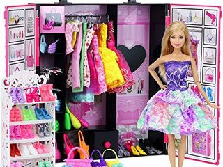 Ecore Fun Fashion Doll Closet Wardrobe for Doll Clothes and Accessories Storage   lot 52 Items Include Clothes  Dresses  Shoes  Bags  Necklace  Shoes Rack  Hangers for 11 5 Inch Girl Doll Clothes