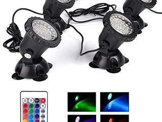 Pond lights Waterproof IP68 Multi Color Dimmable Submersible Fountain light Underwater 36 lED landscape Spotlight Remote Control for Pond Aquarium Garden Yard lawn Pathway  Set of 4