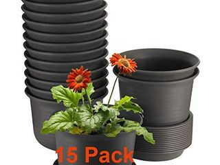 15 Pack Plant Pots  ZOUTOG 6 inches Plastic Planters with Drainage Hole and Tray  Plants Not Included