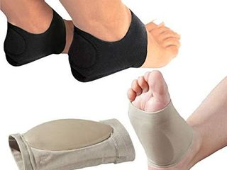 MEDIZEDAr Plantar Fasciitis Therapy Wrap Heel Foot Pain Arch Support Ankle Brace Insole Orthotic a  Beige Arch Sleeve and Black Heel Wrap