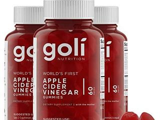 Apple Cider Vinegar Gummy Vitamins by Goli Nutrition   Immunity  Detox   Weight  3 Pack  180 Count  with The Mother  Gluten Free  Vegan  Vitamin B9  B12  Beetroot  Pomegranate