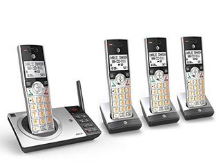 AT T DECT 6 0 Expandable Cordless Phone with Answering System  Silver Black with 4 Handsets