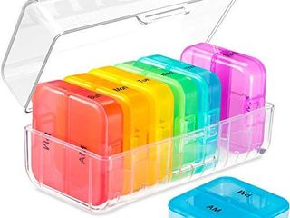 Daviky Weekly Pill Organizer 2 Times a Day  Am Pm Pill Organizer 7 Day  large Travel Vitamin Pill Box Twice a Day  Daily Supplement Organizer Pill Container Dispenser Big Medication Case
