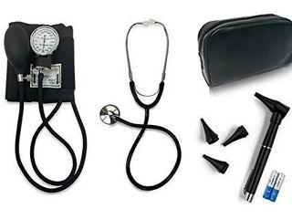 Primacare   DS 9199 Nurse Essentials Starter Kit with Handheld Travel Case   3 Part Kit Includes Adult Aneroid Sphygmomanometer Blood Pressure Monitor  Stethoscope  Mini Diagnostic Otoscope   Black