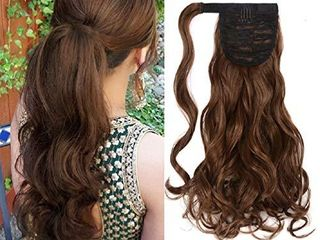 Curly Wave Ponytail Extensions Clip in   18 Inch long Kinky Curly Wrap Around Pony Tail Heat Resistant Synthetic Hairpiece for Women  Ash Brown  12