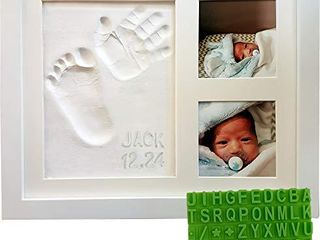 Baby Handprint   Footprint Keepsake Photo Frame Kit   Personzalize it w  Free Stencil  Non Toxic Clay  Wall Table Wood Picture Frame  Perfect Registry  Baby Shower  New Mom  Birthday   Newborn Gift