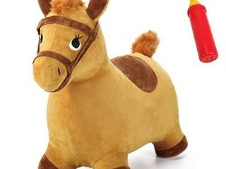 iPlay  ilearn Bouncy Pals Yellow Hopping Horse  Outdoor Ride on Bouncy Animal Play Toys  Inflatable Hopper Plush Covered W  Pump  Activitie Gift for 18 Months 2 3 4 5 Year Old Kids Toddlers Boys Girls