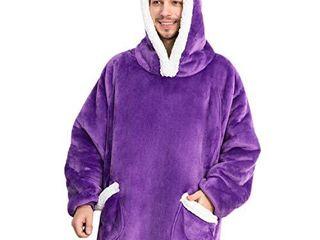 Bedsure Wearable Blanket  Sherpa Blanket Hoodie  Oversized Blanket Sweatshirt with Deep Pockets and Sleeves for Adults Kids Teen  Purple