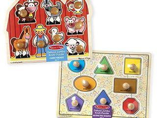 Melissa   Doug Jumbo Knob Puzzles   Shapes and Farm Animals