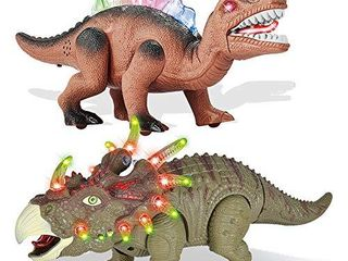 2 Pack Electronic Walking Dinosaur Toy with lED light Up Eyes  Roaring Sound  Realistic Triceratops and Dimetrodon  Dinosaur Party Favors  Dinosaur Toy for Kids Boys Girls Ages 3 4 5 6 7 Year Old