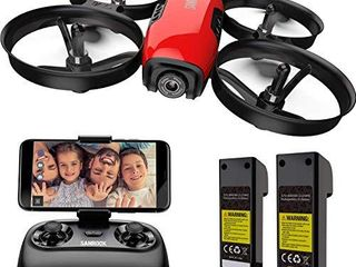 SANROCK U61W Drones for Kids with 720P HD Camera  Mini RC Drone Quadcopter with WiFi FPV  Support Altitude Hold  Route Making  Headless Mode  One Key Start  App Control  Emergency Stop  Great Gift for Boys Girls 2 Batteries