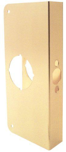 Prime line Products U 9548 1 3 4 Inch Thick by 2 3 8 Inch Backset 2 1 8 Inch Bore Non Recessed Door Rein forcer  Brass