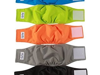 JoyDaog Reusable Belly Bands for Dogs 5 Pack Premium Washable Dog Diapers Male Puppy Nappies Wrap XS