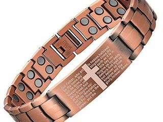 Men Copper Magnetic Bracelet Cross Bracelet