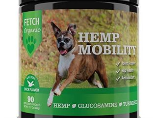FetchOrganic Dog Hip   Joint Supplement Soft Chews Organic Turmeric  Glucosamine  Duck  Salmon  Organic Hemp Oil  Chondroitin  MSM  Green lipped Mussel  Reduce Discomfort   Improve Mobility