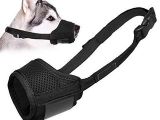 lUCKYPAW Dog Muzzle Anti Biting Barking and Chewing  with Comfortable Mesh Soft Fabric and Adjustable Strap  Suitable for Dogs  XS  Black