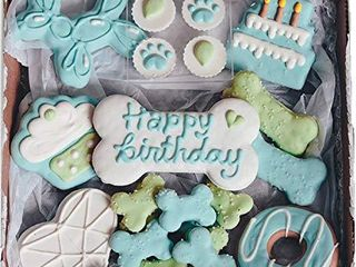 Waifers Dog Birthday Boy Dog Cookie Box Bundle   Handmade Hand Decorated Dog Treats   Dog Gift Box Made with locally Sourced Ingredients   10  Cookies