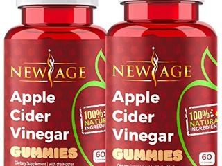Apple Cider Vinegar Gummies by New Age   2 Pack   120 Count   Immunity   Detox   with The Mother  Gluten Free  Vegan  Vitamin B9  B12  Pomegranate  Beetroot