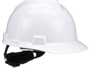 MSA 475358 White V Gard Polyethylene Cap Style Hard Hat With 4 Point RatchetRatchet Suspension