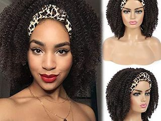Curly Headband Wigs for Black Women Short Afro Curly Wigs Headwrap Wig 2 in 1 Afro Synthetic Curly Wigs with Headband Synthetic Turban Wigs Scarf Wig  leopard Turban Wig
