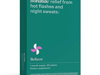 Bonafide Relizen Powerful  Hormone Free Relief from Hot Flashes and Night Sweats During Menopause  1 Month Supply  60 Tablets