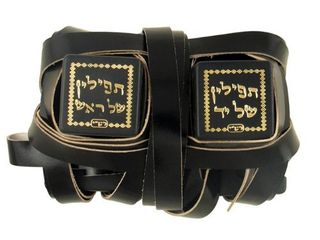 Kosher Tefillin Peshutim for left Handed  Ashkenaz Version  From Israel