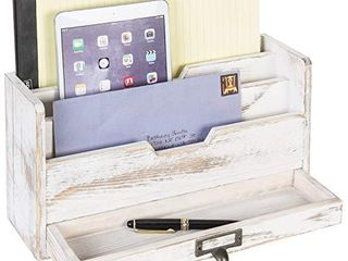 MyGift 3 Tier Shabby Whitewashed Wood Office Desk File Organizer Mail Sorter with Pull Out Drawer