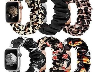 MITERV Compatible with Apple Watch Band 38mm 40mm Soft Floral Fabric Elastic Scrunchies iWatch Bands for Apple Watch Series 6 SE 5 4 3 2 1 6 Pack Small