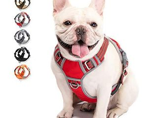 WAlKTOFINE Dog Harness No Pull Reflective Comfortable Harness with Handle Fully Adjustable Pet leash Vest for Small Medium large Dog Breed Car Seat Harness Red M