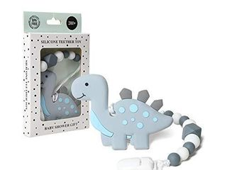 AmazingM Dinosaur Teething Pain Relief Toy with Pacifier Clip Holder Set for Newborn Babies Food Grade BPA Free Silicone Teether Freezer Safe Neutral Baby Shower Gift for Boy and Girl