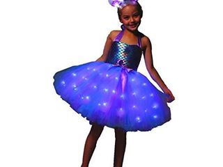 SHINYOU Girls Princess Dress  lED light Up Unicorn Tutu  Mermaid Costume for Christmas Birthday Gift Blue  7 8Y