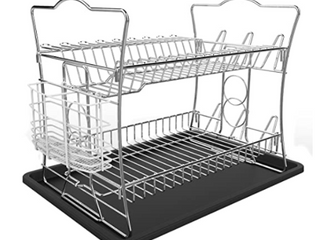 IZlIP 2 TIER CHROME FINISH DISH DRYING RACK   DRAINAGE BOARD WITH WHITE REMOVABlE UTENSIlS HOlDER
