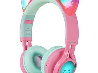 Riwbox Bluetooth Headphones  Riwbox CT 7 Cat Ear lED light Up Wireless Foldable Headphones Over Ear with Microphone and Volume Control for iPhone iPad Smartphones laptop PC TV  Pink Green