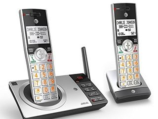 AT T DECT 6 0 Expandable Cordless Phone with Answering System  Silver Black with 2 Handset
