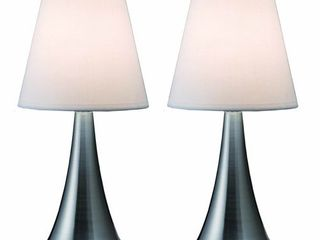 Simple Designs Home lT2014 WHT 2PK Valencia Brushed Nickel Mini Touch Table lamps with Fabric Shades  White  Pack of 2