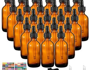 Dropper Bottles  YUlEER 2oz Amber Glass Bottle for Essential Oils  Perfume Oils  for Home use  for travel  Pack of 24
