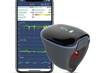 Wellue O2Ring Wearable Health Tracker  Continuously Monitoring Sp O2 level and Heart Rate w Free App and PC Software  Bluetooth Health Monitor for Fitness and Aviation Use
