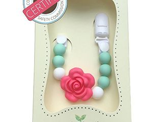 little Sprouts   2 in 1 Pacifier Clip   Modern and Trendy   Teething Baby Silicone Beads   Girl s Binky Holder   Best for Teether Toys  Stuffed Animals  Soothie MAM  Infant Blankets   Drool Bibs