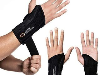 Copper Compression Wrist Brace   Guaranteed Highest Copper Content Support for Wrists  Carpal Tunnel  Arthritis  Tendonitis  Night Day Wrist Splint for Men Women Fit Right left Hand  Right Hand S M