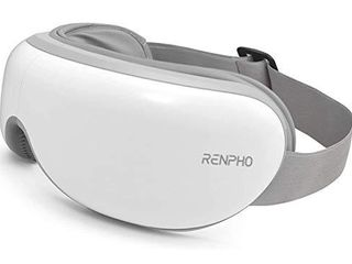RENPHO Eye Massager with Heat  Compression  Wireless Music Rechargeable Eye Therapy Massager for Relieve Eye Strain Dark Circles Eye Bags Dry Eye Improve Sleep White