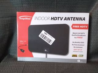 Amplified indoor HDTV antenna free HDTV watch full HDTV quality broadcast for free no monthly fee no price increase no contacts easy setup all Hardware fluted HDTV compatible 1byone ultra thin design