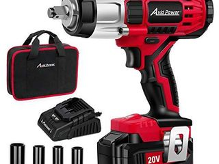 AVID POWER 20V MAX Cordless Impact Wrench with 1 2 Chuck  Max Torque 330 ft lbs  450N m  3 0A li ion Battery  4Pcs Driver Impact Sockets  1 Hour Fast Charger and Tool Bag  Avid Power