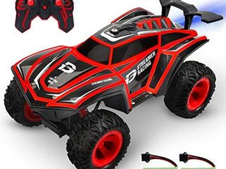DEERC RC Cars 1 12 Scales Remote Control Car 4WD Off Road Rock Crawler 2 4GHz All Terrain Monster Truck with Rear Fog Stream 5 lED lighting Modes 2 Battery for 40  Min Play Toy Car for Boys and Adults
