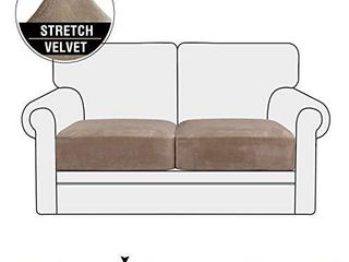 Stretch Velvet Couch Cushion Covers for Individual Cushions Sofa Cushion Covers Seat Cushion Covers  Thicker Bouncy with Elastic Edge Cover up to 10 Inch Thickness Cushions  2 Pieces  Taupe