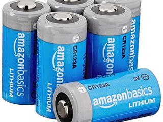 Amazon Basics 6 Pack lithium CR123a 3 Volt Battery  10 Year Shelf life  Easy to Open Pack
