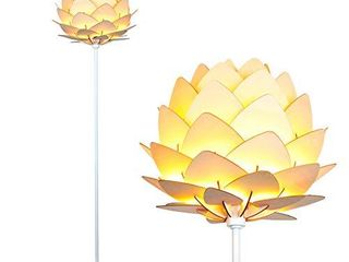 Brightech Artichoke Floor lamp   Unique Modern Bohemian  Boho  Standing light for Trendy Vintage living Rooms  Bedrooms  Modern Multi Panel Wooden Shade Tall Pole Uplight lamp